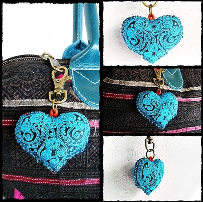 Picture of Cute Colorful Heart Keychain Zip Pull Bag Accessory Decoration by Handmade.