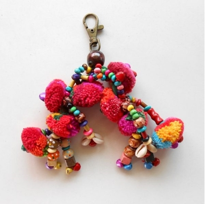 Picture of Colorful Little Claw Pom Poms Keychain
