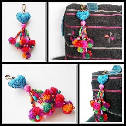 Picture of Heart Hanging Little Pom Poms Keychain.