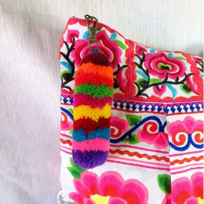 Picture of Furry Tail Rainbow Keychain Zip Pull Bag Accessory Thailand Handmade