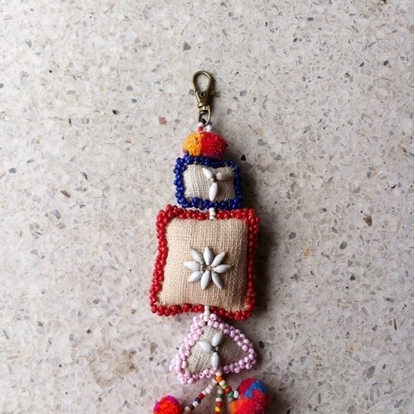 Picture of Beautiful Handmade keychains Natural Hemp Fabric , Bag Accessory, Pom poms, Shell & Beaded decorations