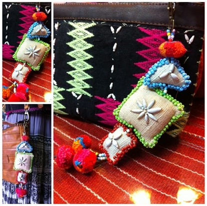 Picture of Beautiful Handmade keychains Natural Hemp Fabric , Bag Accessory, Pom poms, Shell & Beaded decorations.