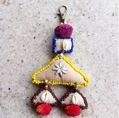 Picture of Beautiful Handmade keychains Natural Hemp Fabric.