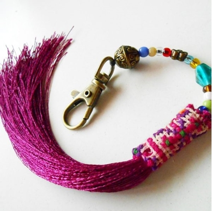 Picture of Beauty Purple Tassel Keychain, Zip Pull Bag Accessory Decoration by Handmade