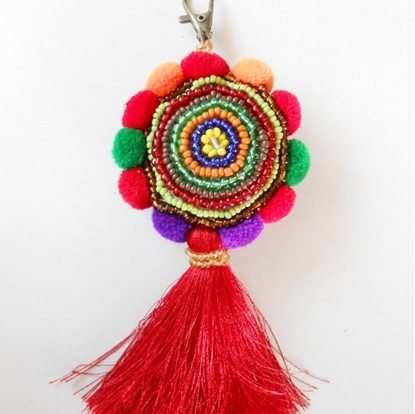Picture of Beauty Colorful Keychain, Beadwork, Pom poms and Tassel, Zip Pull, Bag Accessory Decoration Handmade