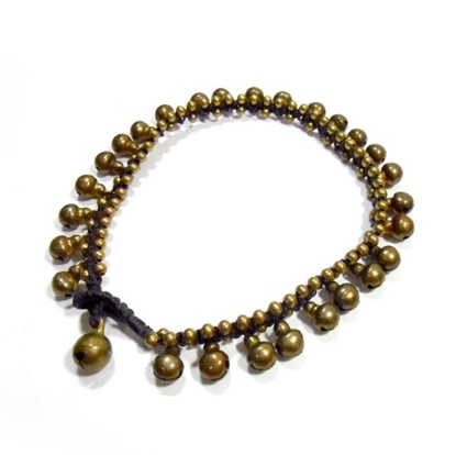 Picture of Brass Balls Anklet Adjustable Size, Wax String Anklet Handmade, Thailand Jewelry.
