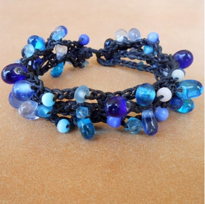 Picture of Bubble beaded Bracelet, Wax String Bracelet Jewelry Thailand Handmade.