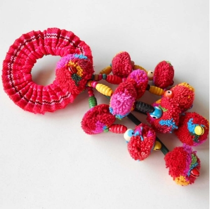 Picture of Colorful Ethnic Ponytail Tribal hair Accessory Pom poms Thailand Handmade