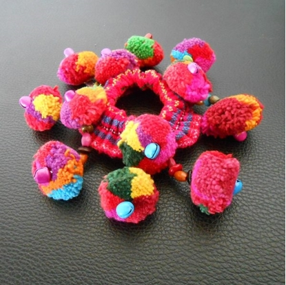 Picture of Colorful Pom Poms Tribal hair Accessory