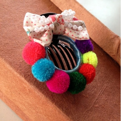 Picture of Pom Poms Hair Clip, Colorful Hair Accessories