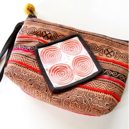 Picture of Blue or Orange Hmong Bag, Zipper Pouch