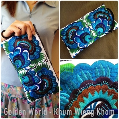 Picture of Colorful cotton embroidered purse Black Fabric