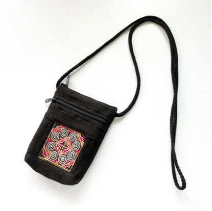 Picture of Cell Phone Bag, Vintage Hemp Fabric Hand Embroidered Textiles Quilted