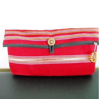 Picture of Clutch Bag Tribal Red Fabric with Stone & Brass Beads