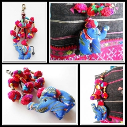 Picture of Elephant & Colorful Pom Poms Key chain