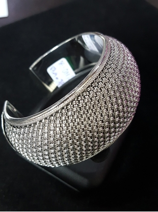 Picture of  Handmade Black Oxidided Hammered Silver Bangle  - Weave