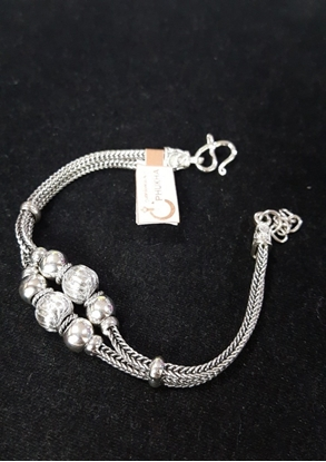 Picture of Double Handmade Silver Viking Knit Bracelet With Native Beads