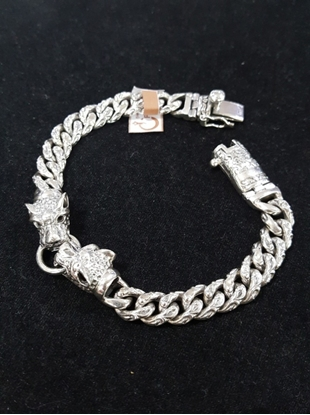 Picture of Handmade Black Oxidided Silver Chain Bracelet - Couple Dragon