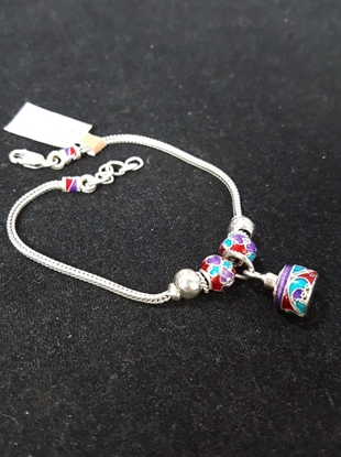 Picture of Handmade Enamel Silver Viking Knit Bracelet With Multi Color Silver Pendants