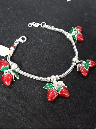 Picture of Handmade Enamel Silver Viking Knit Bracelet With Double Strawberry Silver Pendants
