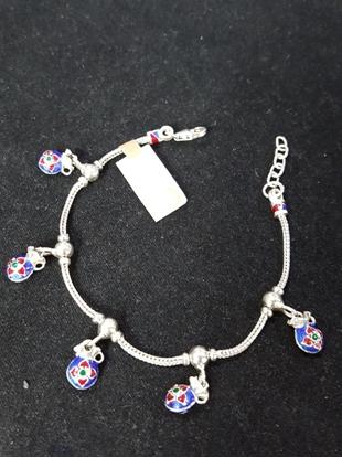 Picture of Handmade Enamel Silver Viking Knit Bracelet With Blue Pouch Silver Pendants