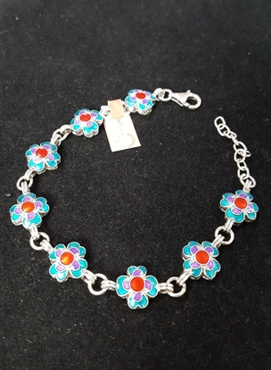 Picture of Handmade Enamel Silver Chain Bracelet With Multi Color Flowers
