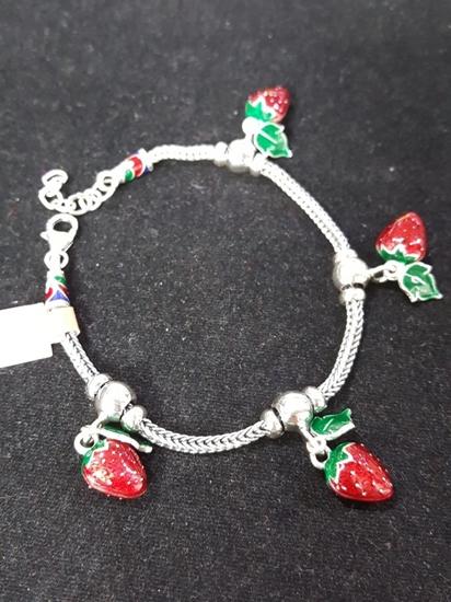 Jatujakmall handmade enamel silver viking knit bracelet with handmade enamel silver viking knit bracelet with strawberry silver pendants mozeypictures Choice Image