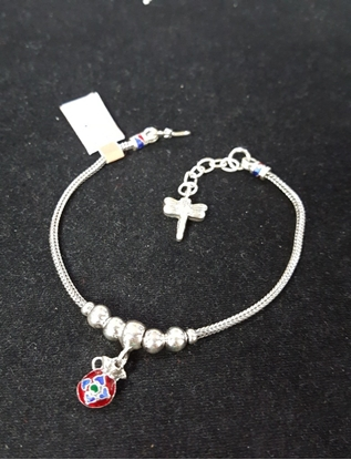 Picture of Handmade Enamel Silver Viking Knit Bracelet With Red Pouch Silver Pendants