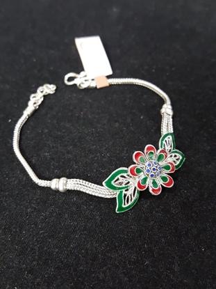 Picture of Handmade Enamel Silver Viking Knit Bracelet - Elegant Flower