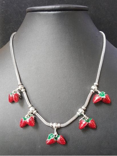 Jatujakmall handmade enamel silver viking knit necklace with handmade enamel silver viking knit necklace with strawberries silver pendants aloadofball Gallery