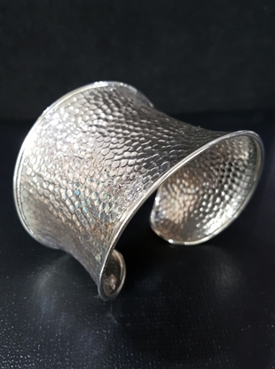 Picture of  Handmade Black Oxidided Hammered Silver Bangle