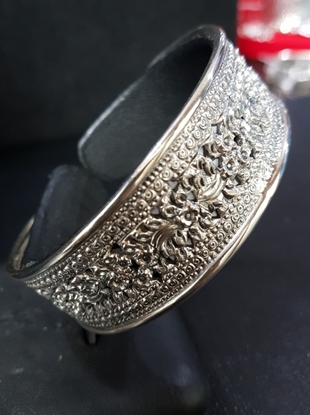 Picture of  Handmade Black Oxidided Hammered Silver Bangle - Blossom