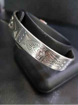Picture of  Handmade Black Oxidided Hammered Silver Bangle - Aquatic Animal