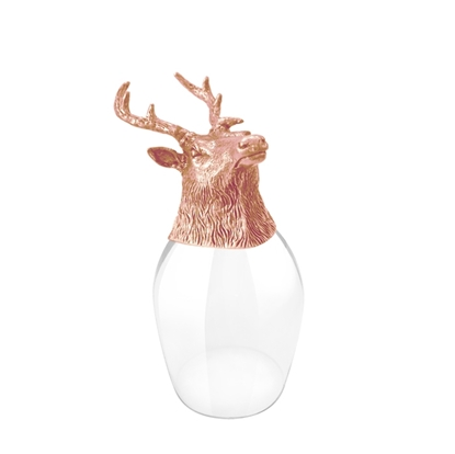 Picture of WINE GLASS DEER HEAD PINK GOLD