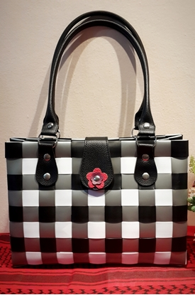 Picture of Black-White-Grey Chess Shoulder Plastic Woven Bag