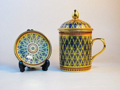 Picture of Mug and Saucer benjarong set  - Nha Singha design