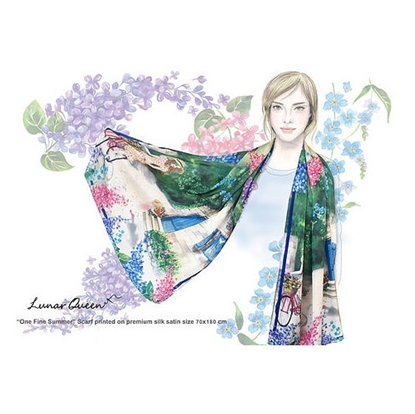 Picture of One Fine Summer' Silk Satin scarf