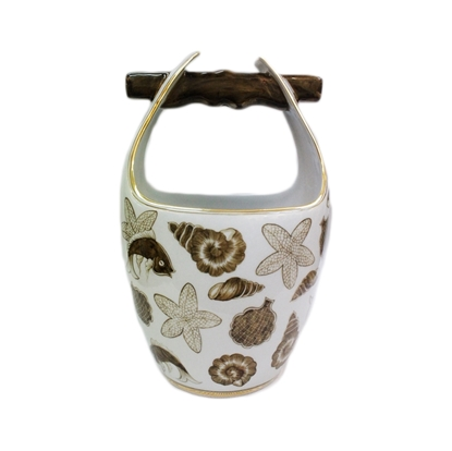 Picture of BLOOMING Porcelain Basket with shell & blossom pattern