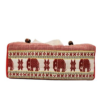 Picture of ปลอกกล่องใส่ทิชชู่ผ้าฝ้ายทอมือ ลายขิตช้างแถว PHUTHAIFAINGAM