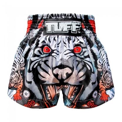 Picture of TUFF Muay Thai Boxing Shorts Grey Cruel Tiger