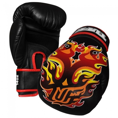 Picture of Tuff MuayThai Gloves Black with Fire Design