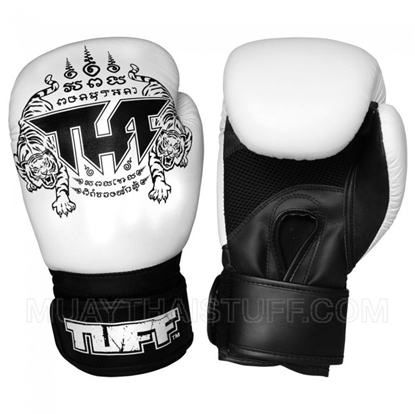 Picture of Tuff MuayThai Air Gloves White Black with New Logo