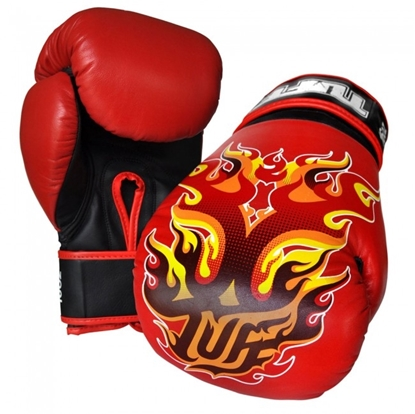 Picture of Tuff MuayThai Gloves Red with Fire Design