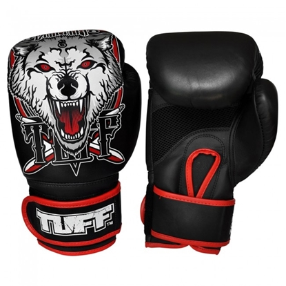 Picture of TUFF MuayThai Gloves Black with Wolf Design