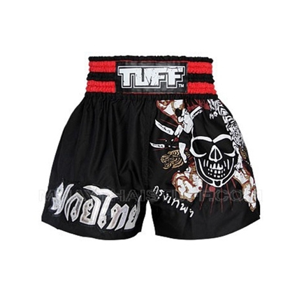 Picture of TUFF Muay Thai Boxing Shorts Black With Skull