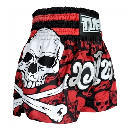 Picture of TUFF Muay Thai Boxing Shorts Battalion Skull in Red