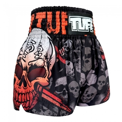 Picture of TUFF Muay Thai Boxing Shorts Battalion Skull in Black