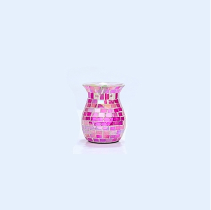 Picture of Square Mosaic Glass Warmer Pink