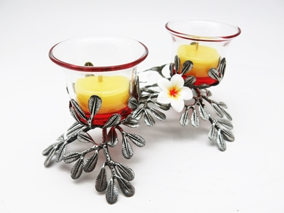 Picture of Loyfar Pewter Plumeria with 2 CandleHolders