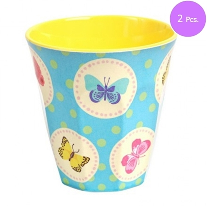 Picture of MEDIUM CURVED CUP W BLUE BUTTERFLY PRINT 2 Pcs.